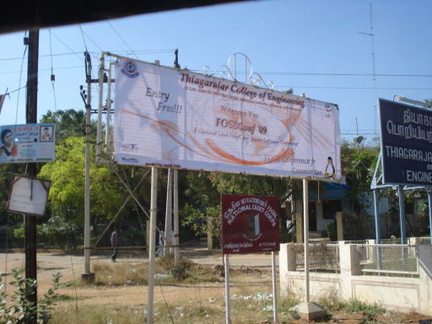 Banner outside the campus